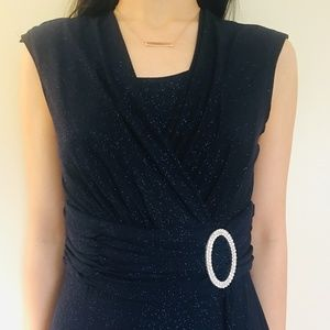 Dark Navy Elegant Formal Dress with Sparkles